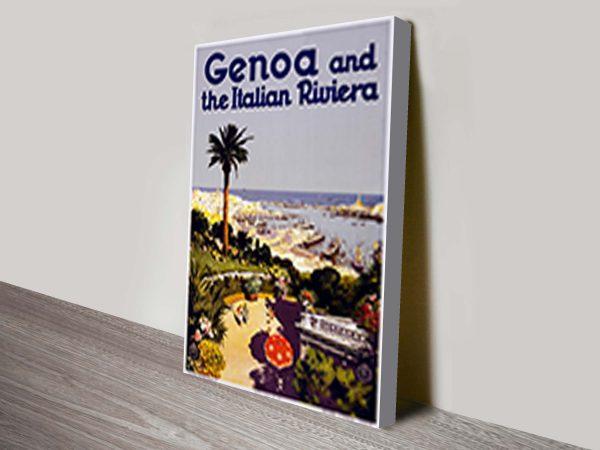 Genoa Travel Poster Wall Art Print on Canvas