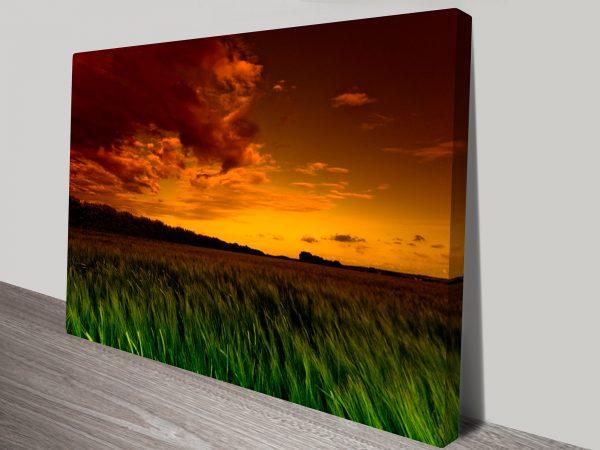 Green Fields Photo Canvas Art Print
