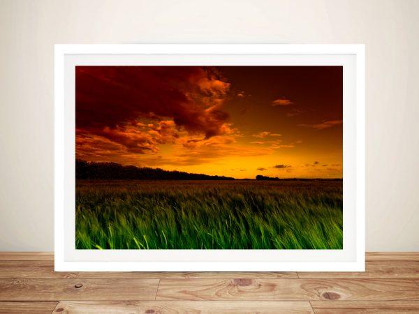 Green fields Framed Wall Art