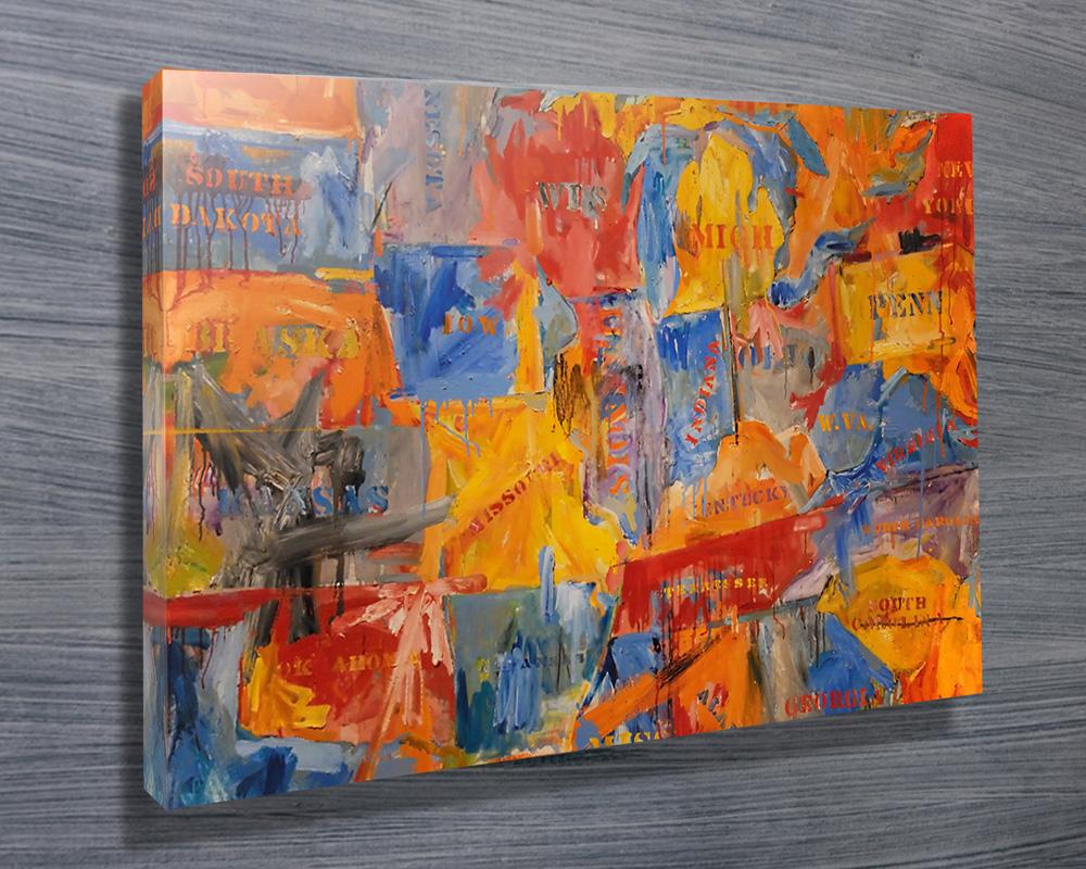 Map by Jasper Johns Canvas Prints Australia