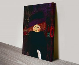 Lady with Hat and Feather Boa Canvas Print