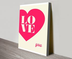 Buy Love You Typographic Canvas Artwork