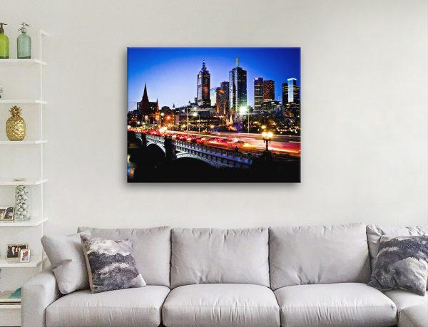 Buy a Melbourne Skyline at Sunset Canvas Print