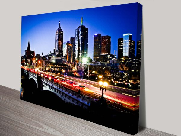 Buy a Melbourne by Night Print on Canvas