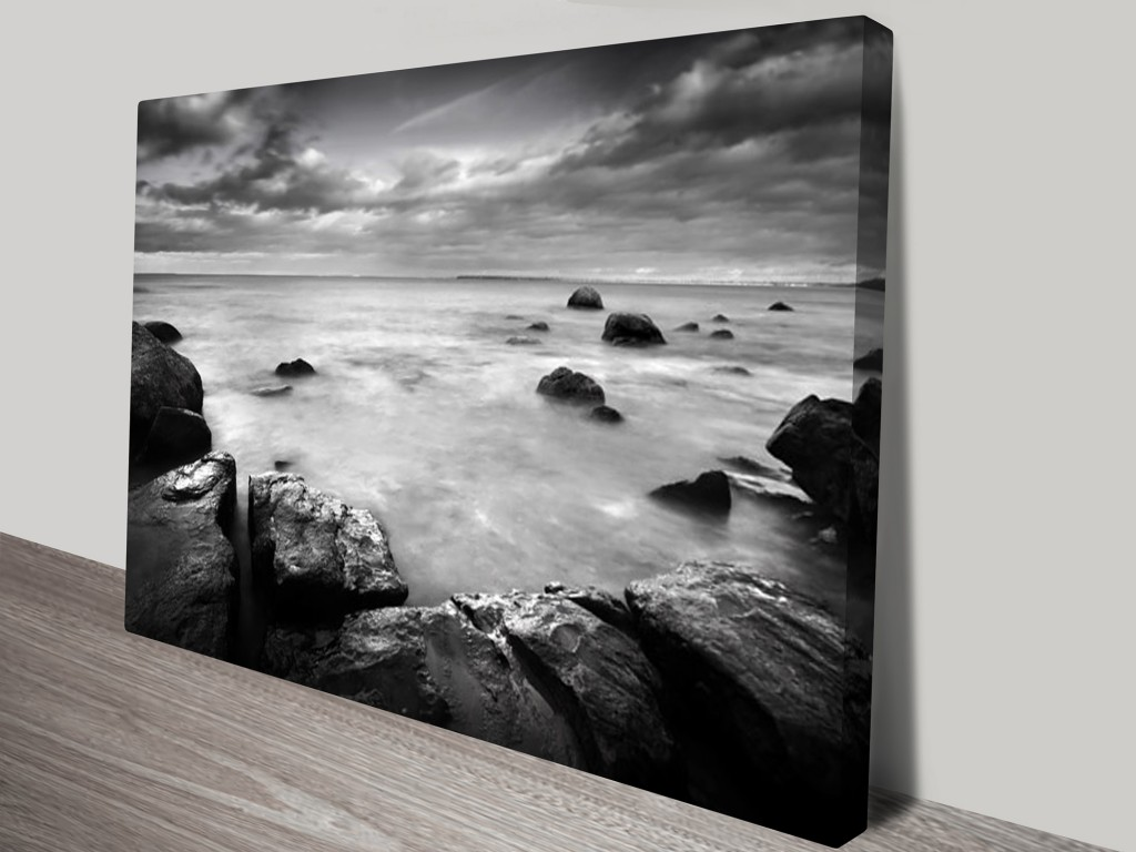Mystical Bay Black And White Framed Print