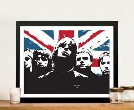 Framed Oasis Union Jack Pop Art on Canvas