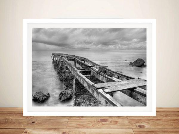 Old Pier Black and White Framed Art Print