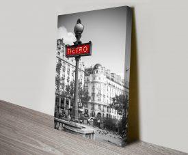 Paris Metro Black & White Art on Canvas