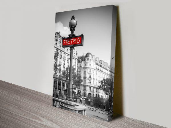 Paris Metro Sign BW Artwork on Canvas