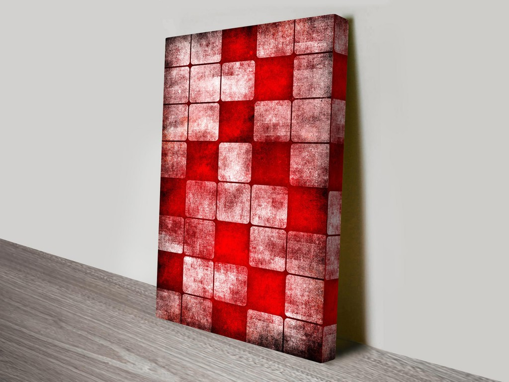 Red cubes abstract canvas wall art canvas prints australia for Red wall art