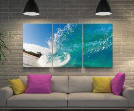 Surf 3 Panels Canvas Artwork