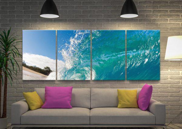 Waves 4 Panels Canvas Artwork