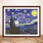 Starry Night Van Gogh Brown Framed Wall Art