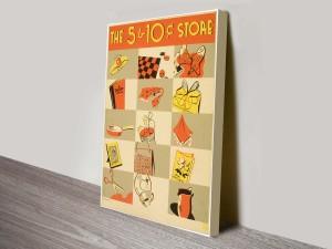 Store Vintage Poster Canvas Prints Australia