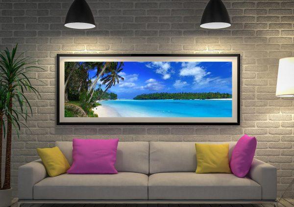Buy The Beach Framed Panoramic Canvas Art