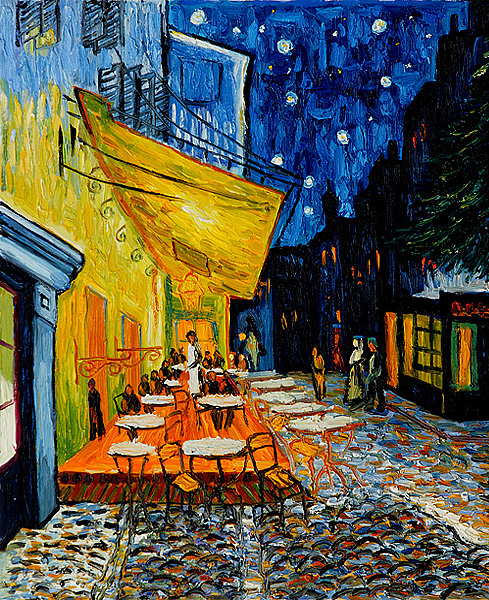 Caf 233 Terrace At Night Canvas Print Of The Painting By
