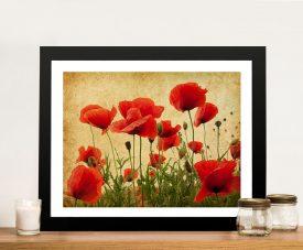 Vintage Poppies Art Print on Canvas