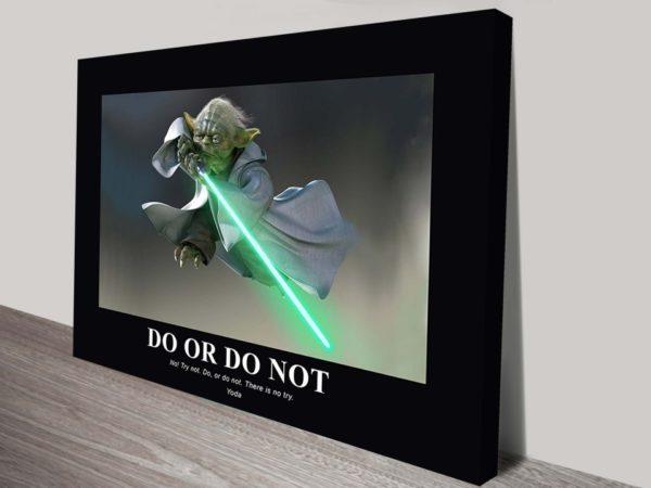 Yoda Star Wars Motivational Poster Wall Art on Canvas