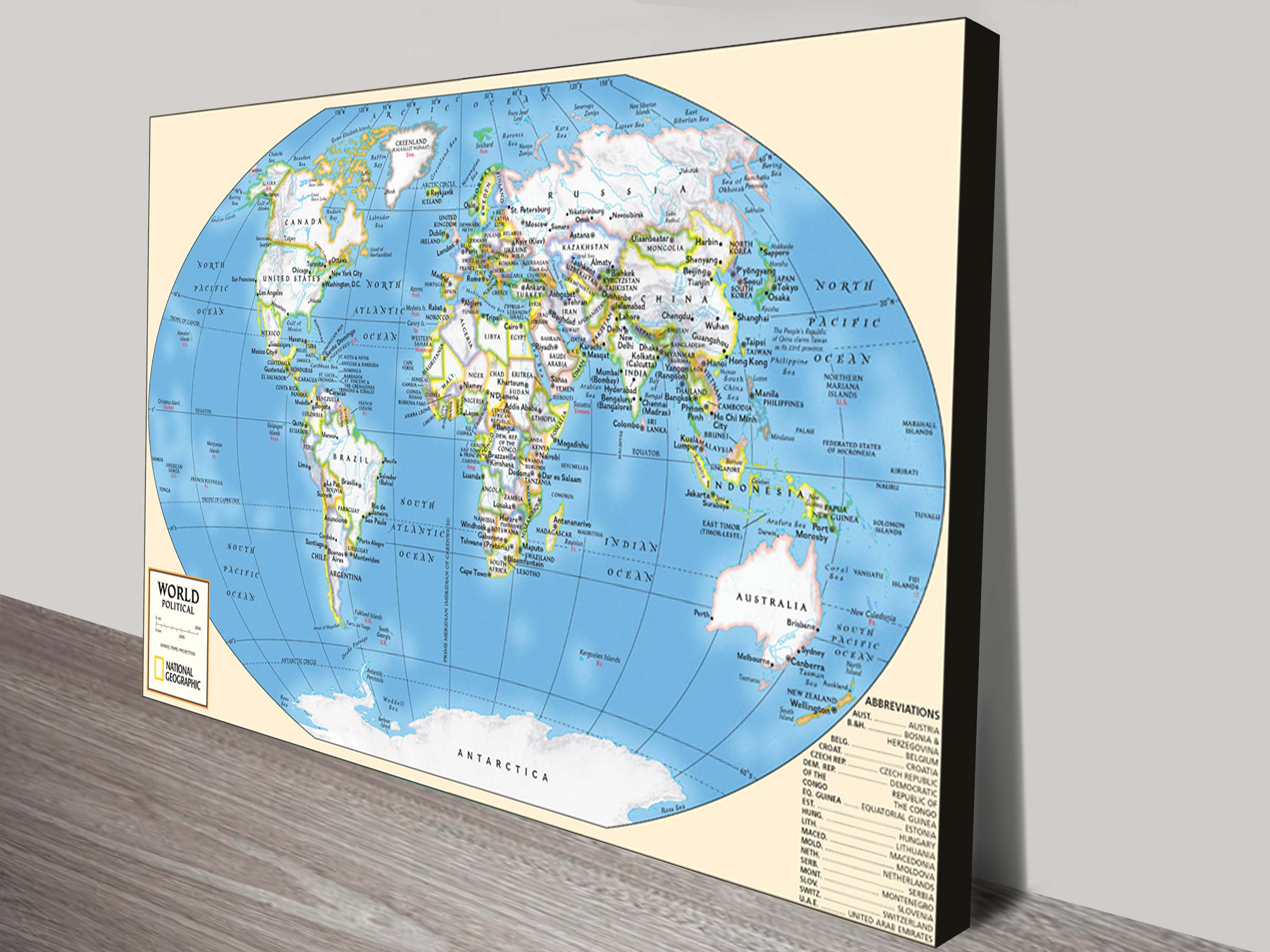 Travel world map canvas print picture artwork australia world map wall art canvas gumiabroncs Gallery