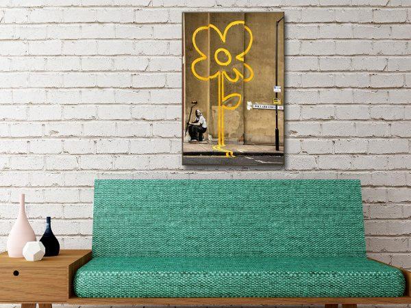 Banksy Yellow Line Man canvas wall art