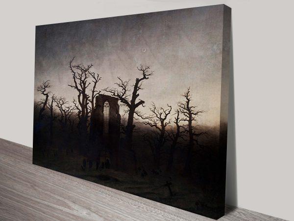 Haunting Abbey Among Oak Trees by Casper David Friedrich Canvas Art Printing