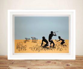 Banksy Trolley Hunters Print Framed Wall Art