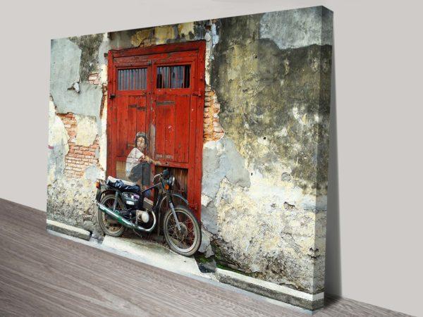 Boy on bike Graffiti Wall canvas print