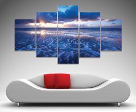 Blue Reflections five panels print