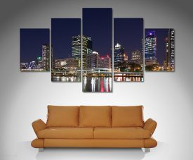 Brisbane City Night 5 panel art