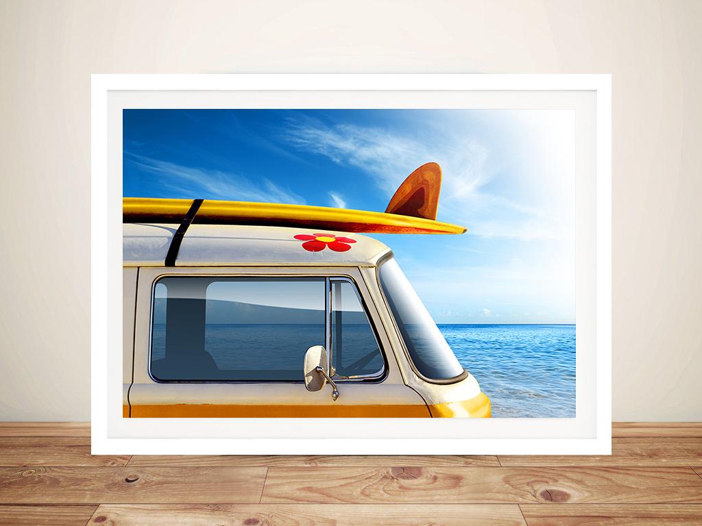 Surf Trip Surfing Art Prints on Canvas VW Campervan Australian Artwork