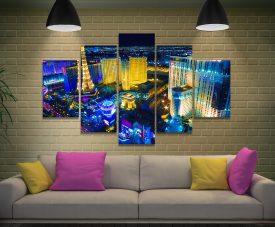 Las Vegas at Night Split Diamond Wall Art