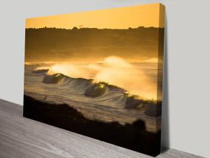 Yellow Ocean sunset Canvas Photo Art