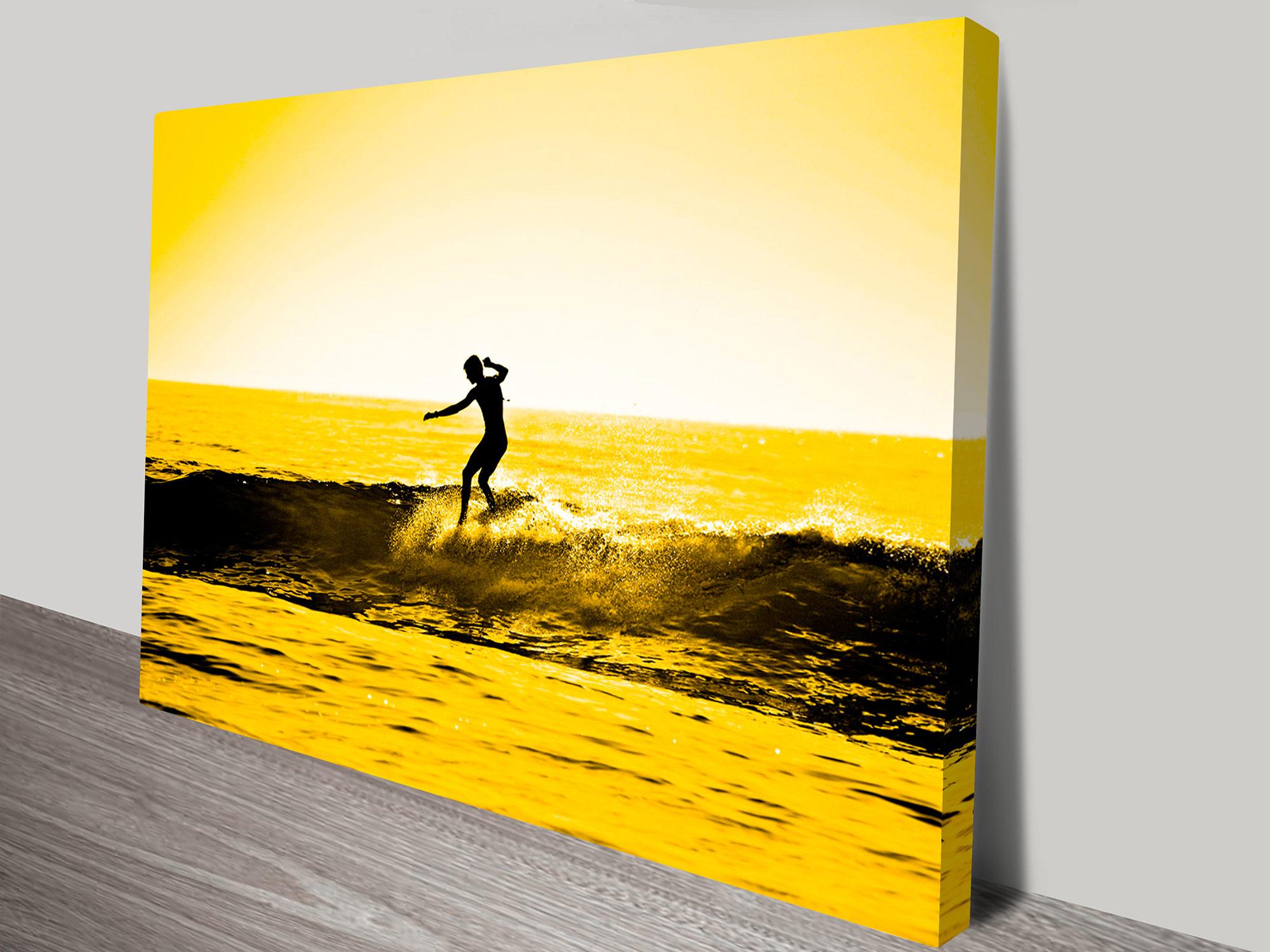 Sunset Surf Art in Yellow Tones - Canvas Prints Australia