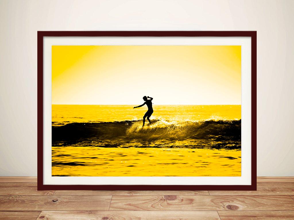 Sunset Surf Art In Yellow Tones Canvas Prints Australia