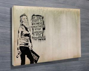 Banksy Greatness slogan print