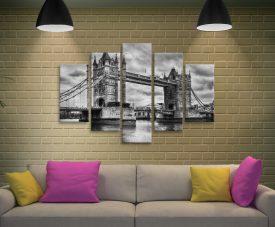 London Bridge black and white 5 Piece Art