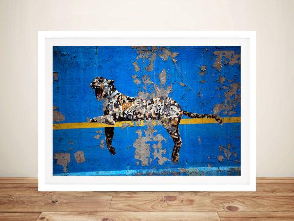 Banksy Graffiti Leopard Framed Wall Art Print