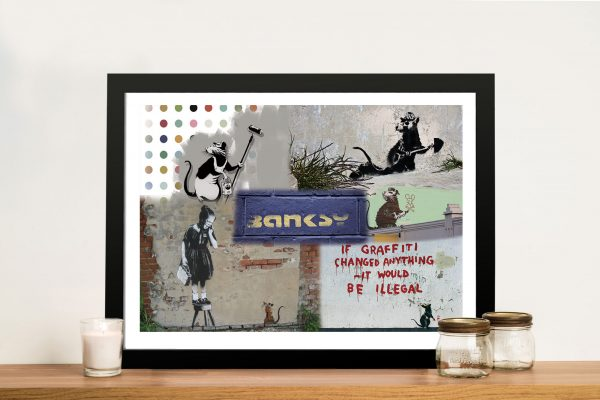 Banksy Rat Collage Framed Wall Art