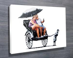 Banksy Rickshaw Kid Canvas Print Wall Art