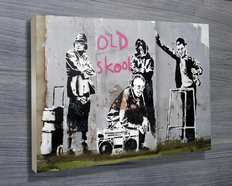Banksy Old Skool Printed Artwork On Canvas Or Framed Print