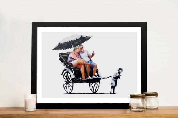 Banksy Rickshaw Kid Canvas Print Wall Art