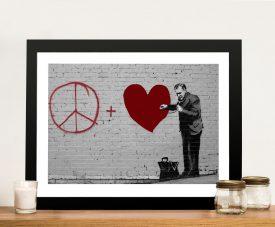 Framed Banksy Peaceful Hearts Artwork