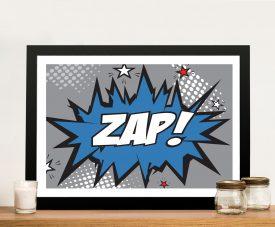 Blue & Grey Zap Comic Book Print on Canvas