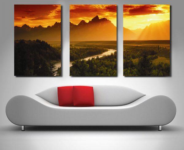 Dream Valley Triptych Canvas Art