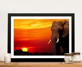 Elephant Sunset African Nature Wall Art Print