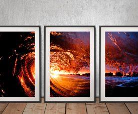 Buy a Framed 3-Piece Art Set of Fire Water