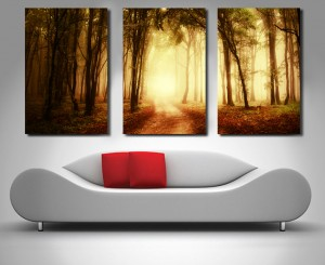 Mystical Woods Triptych panel canvas print
