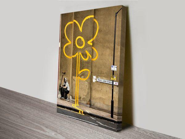 Yellow Line Man Banksy Canvas Print Australia