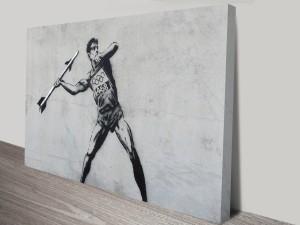 Banksy Javelin Thrower Canvas Wall Art Print