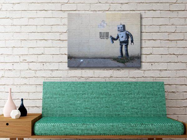 Banksy Robot Barcode Canvas Artwork